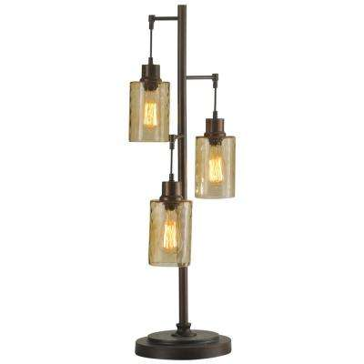 37 in. Bronze Table Lamp with Clear Dimpled Glass Shade
