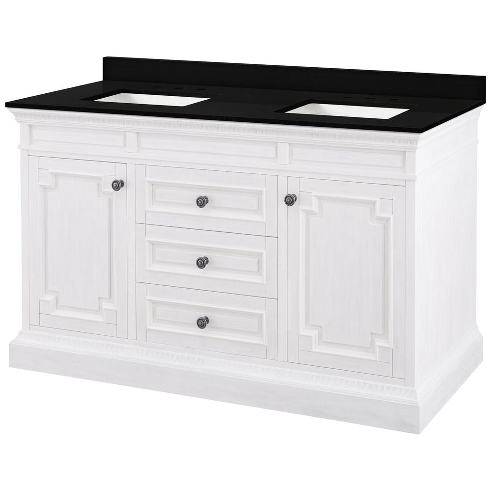 Home Decorators Collection Cailla 61 in. W x 22 in. D Bath Vanity in White Wash with Granite Vanity Top in Midnight Black with Trough White Basin was $1799.0 now $1079.4 (40.0% off)