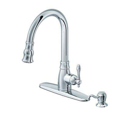 Traditional Single-Handle Pull-Down Sprayer Kitchen Faucet with Soap Dispenser in Polished Chrome