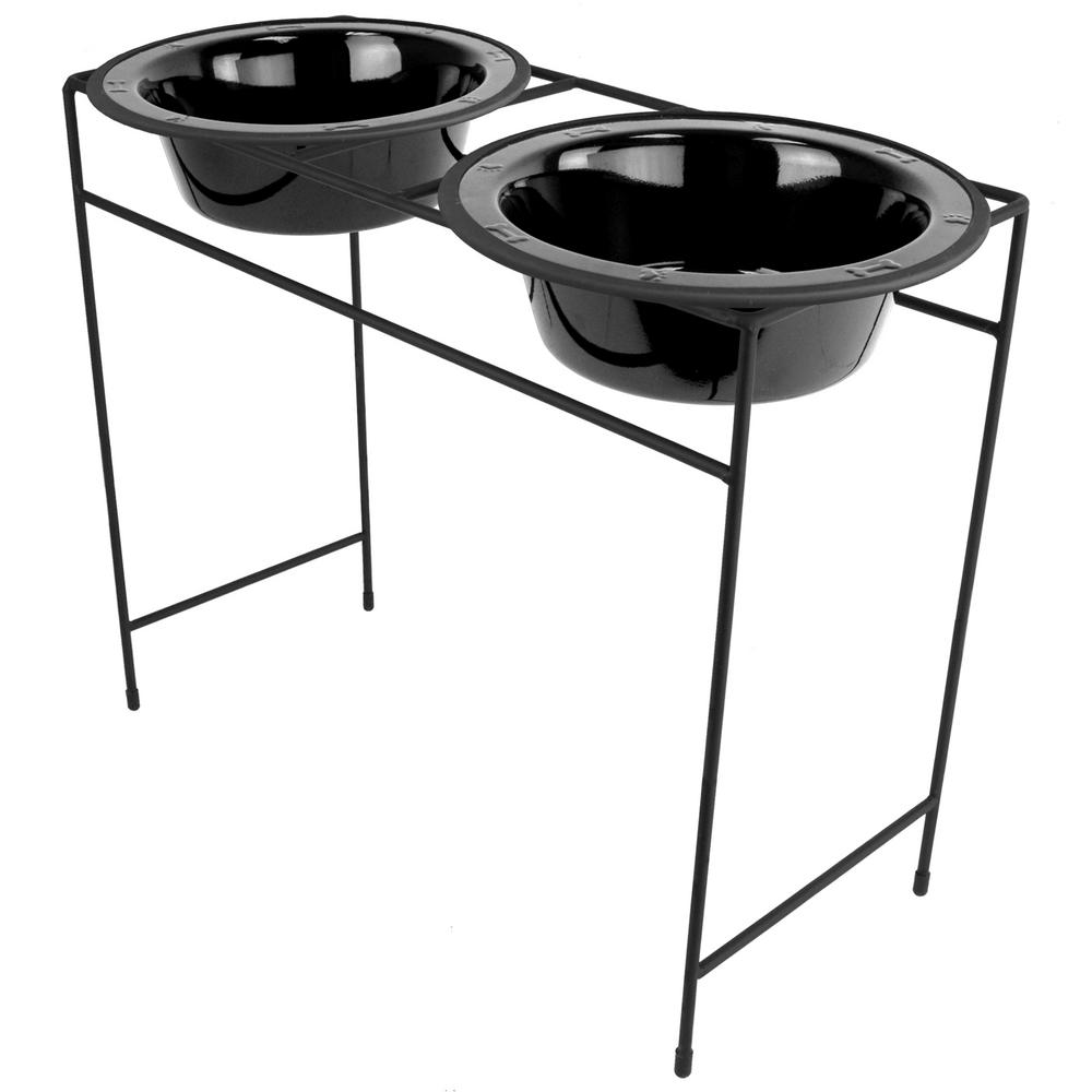 10 Cup Modern Double Diner Feeder with Dog Bowls, Midnight Black