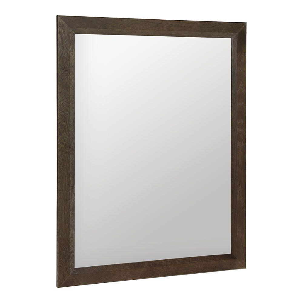 Shaila 24 in. x 31 in. Single Framed Vanity Mirror in Gray Oak