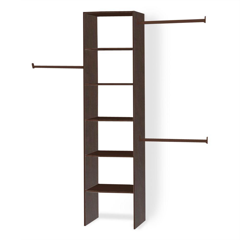 14.5 in. D x 25 in. W x 82.5 in. H Mocha Custom Wood Closet System Organizer