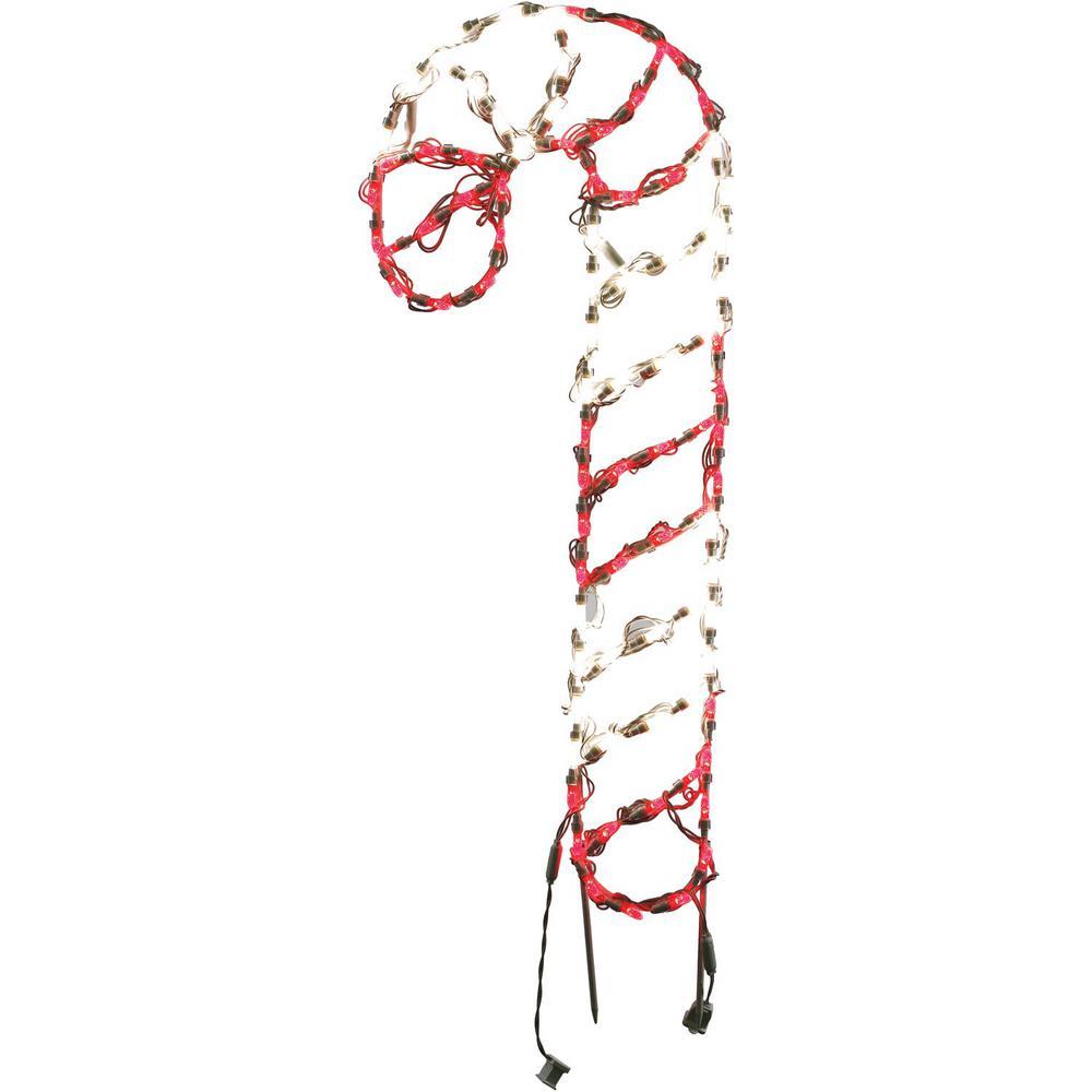 3 ft. 90-Light LED Red and White Candy Cane Novelty Light