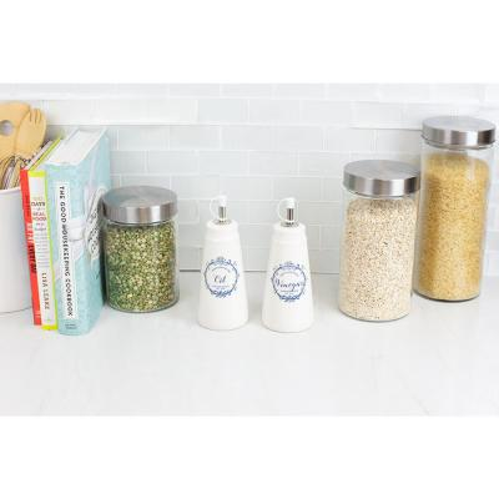 Crest Ceramic White Oil and Vinegar Set (2-Pack)