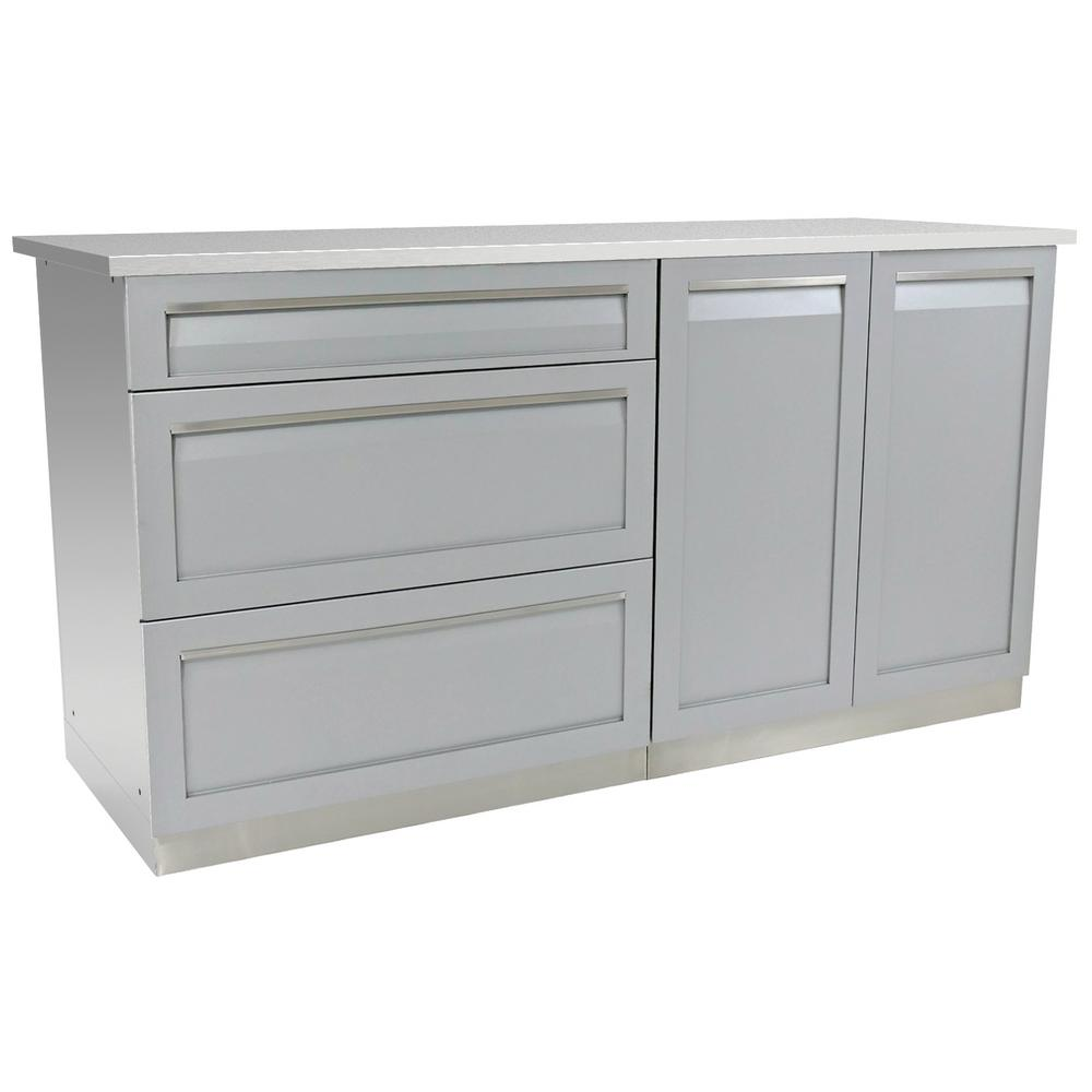 4 Life Outdoor Stainless Steel Outdoor Cabinet Set Powder Coated Doors Gray