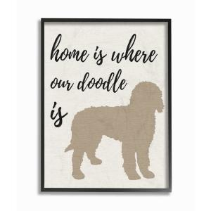 16 in. x 20 in. ''Home is Where Our Golden Doodle Is'' by Daphne Polselli Wood Framed Wall Art