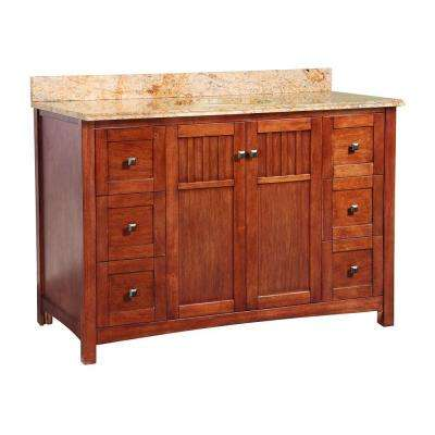 Knoxville 49 in. W x 22 in. D Bath Vanity in Nutmeg with Stone Effects Vanity Top in Tuscan Sun