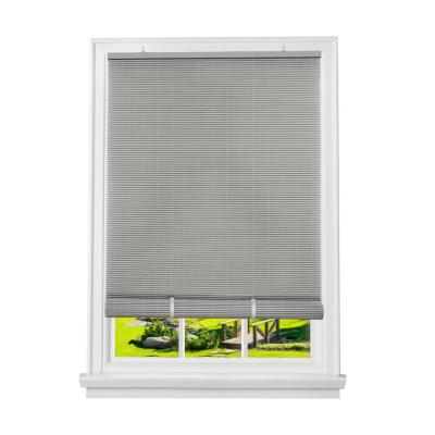Solstice Grey Cordless Light Filtering Roll-Up Vinyl Blind with 0.25 in. Slats