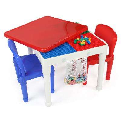 Playtime 3-Piece White/Primary 2-in-1 Plastic Lego-Compatible Kids Activity Table and 2 Chairs Set