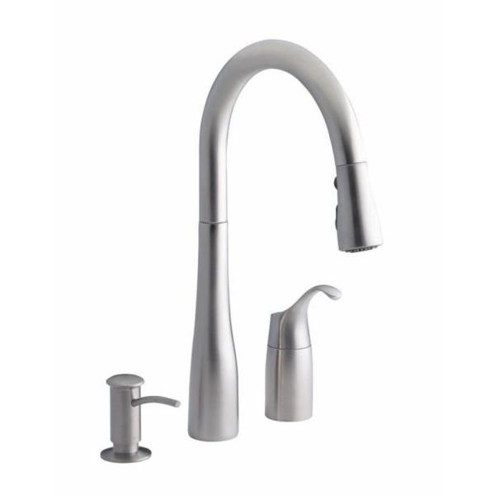 Kohler Simplice Single Handle Pull Down Sprayer Kitchen Faucet In Vibrant Stainless K R648 Vs The Home Depot