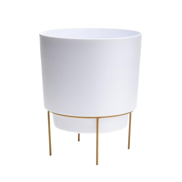 Hopson Medium 10 in. Casper White Planter with Metal Gold Stand
