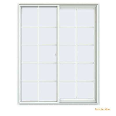 47.5 in. x 59.5 in. V-2500 Series White Vinyl Right-Handed Sliding Window with Colonial Grids/Grilles