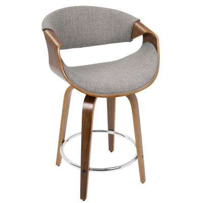 Curvinin 24 in. Walnut and Light Grey Counter Stool