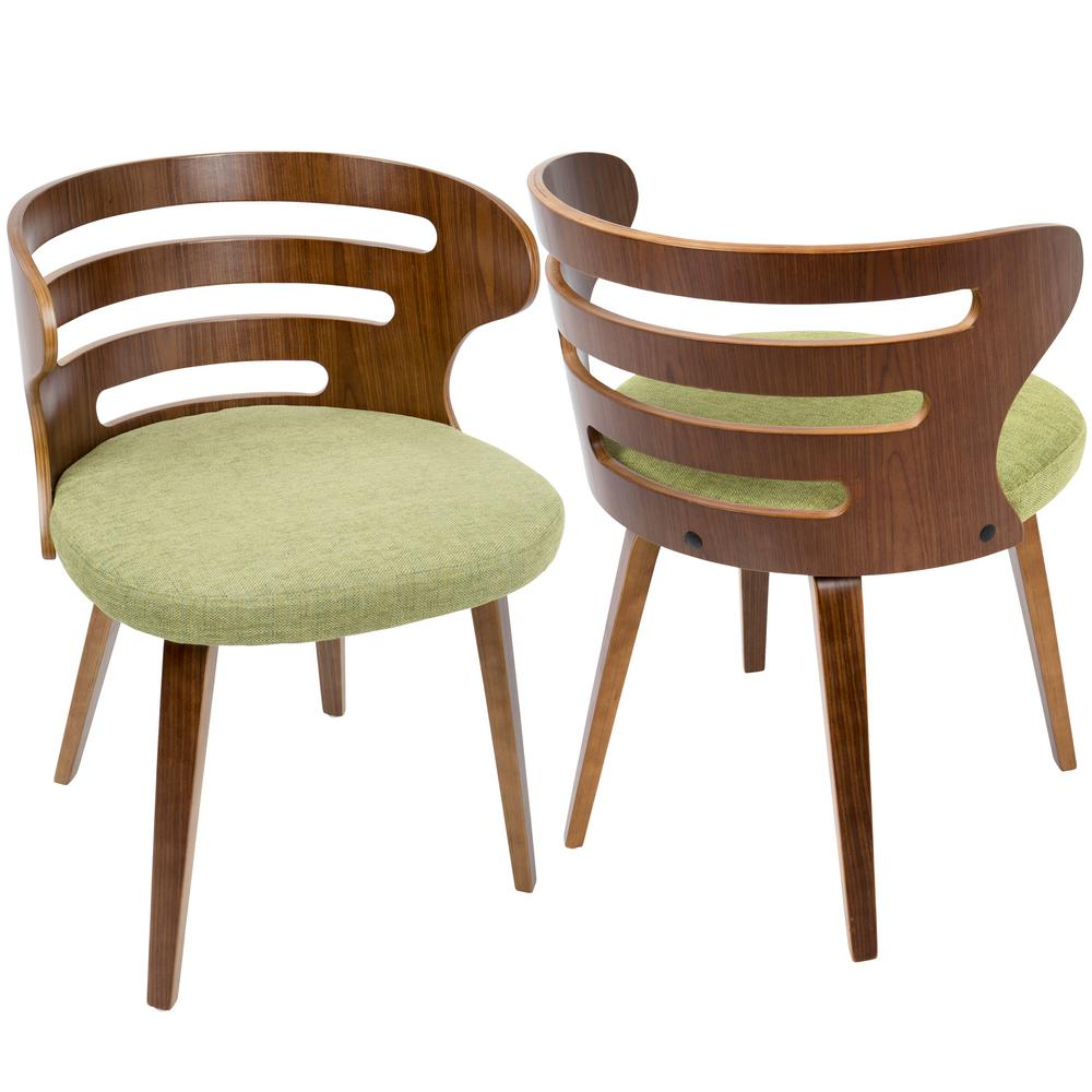Lumisource Cosi Mid Century Modern Walnut And Green Fabric Dining/Accent  Chair