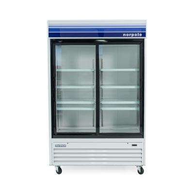 Glass Door 53 in. W 45 cu. ft. Commercial Glass Door Refrigerator in White and Black
