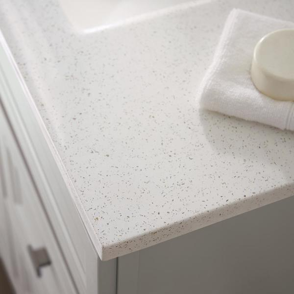 Solid Surface 36-1//2 in Technology Backsplash in Arctic