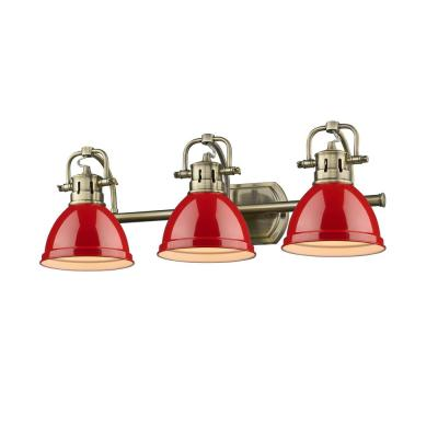 Duncan AB 3-Light Aged Brass Bath Light with Red Shades