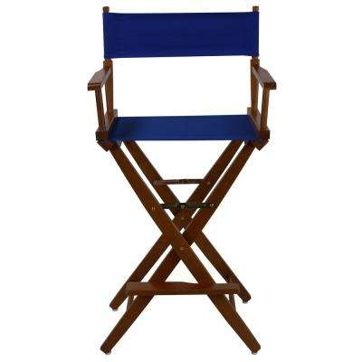 30 in. Extra-Wide Mission Oak Wood Frame/Royal Blue Canvas Seat Folding Directors Chair
