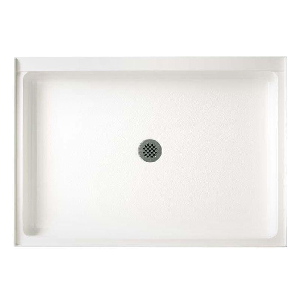 Swan 34 In X 54 In Solid Surface Single Threshold Center Drain Shower Pan In White Sf03454md 010 The Home Depot