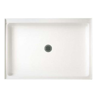 34 in. x 54 in. Solid Surface Single Threshold Center Drain Shower Pan in White
