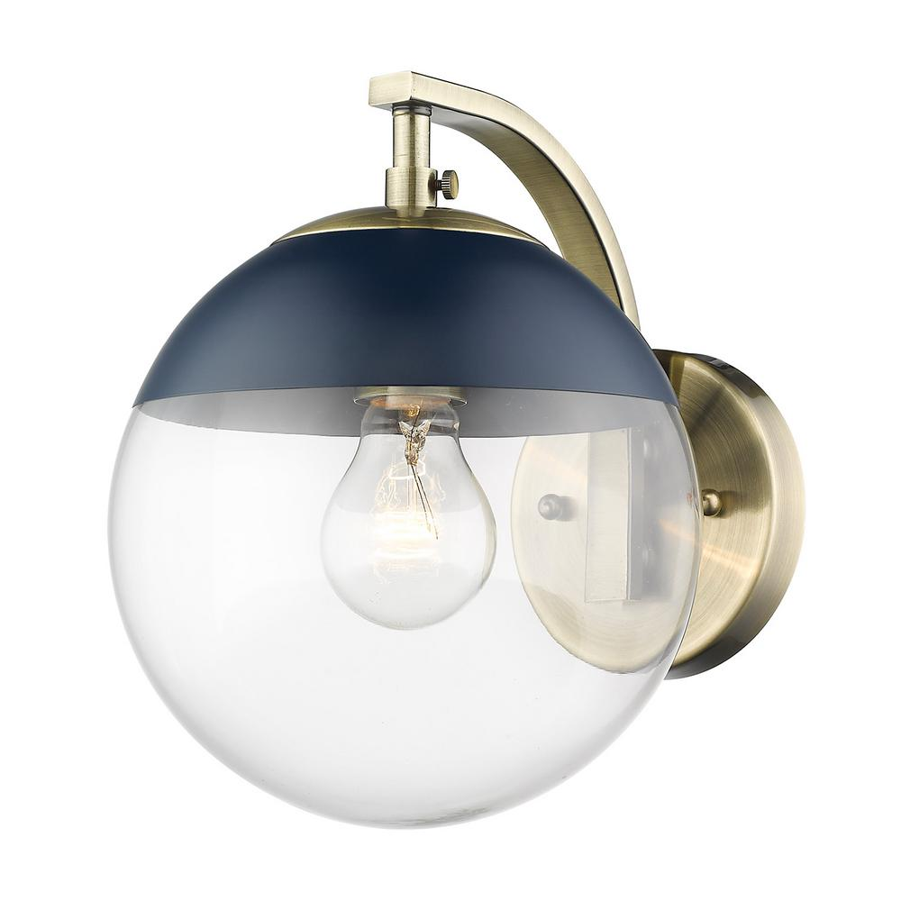 Golden lighting aged brass dixon sconce with clear glass and navy cap