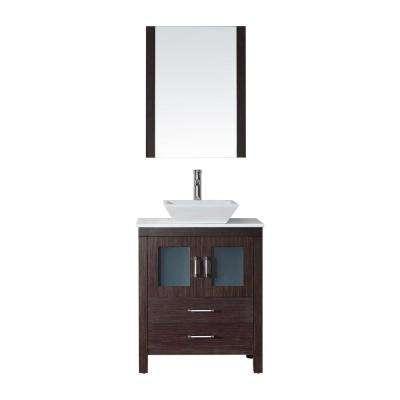 Dior 29 in. W Bath Vanity in Espresso with Stone Vanity Top in White with Square Basin and Mirror and Faucet