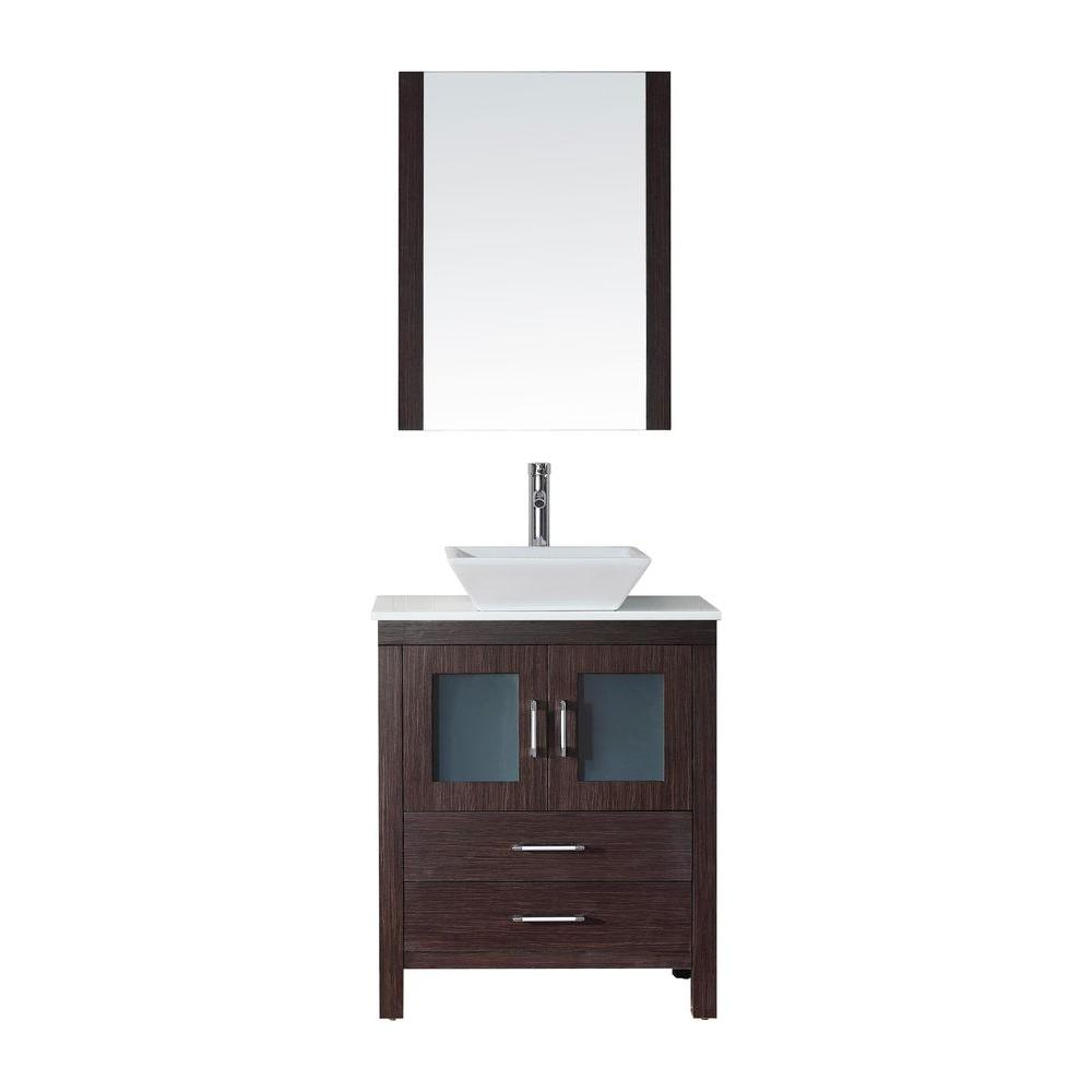 D Vanity In Espresso With Stone Top White Basin And Mirror Ks 70028 S Es The Home Depot