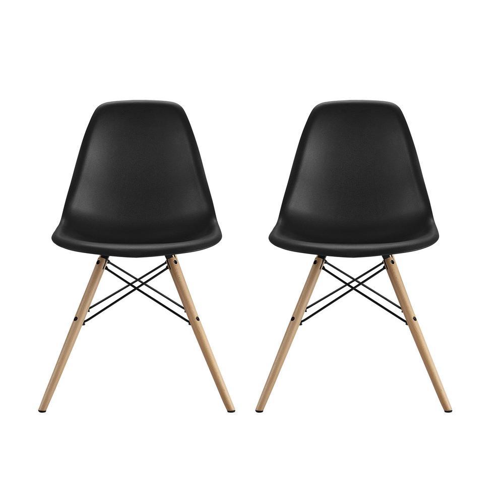 dhp moorea black mid century modern molded chair with wood leg set