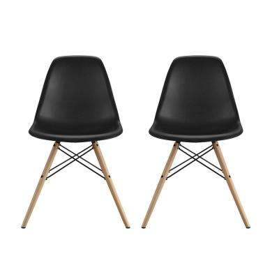 Moorea Black Mid Century Modern Molded Chair with Wood Leg (Set of 2)