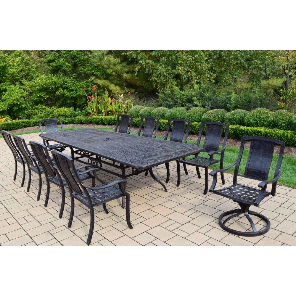 Oakland living extendable aluminum 11 piece rectangular for Jardin 8 piece dining set
