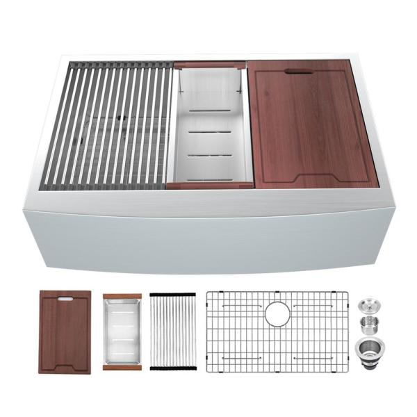 Apron-Front Stainless Steel 30 in. 16-Gauge Single Bowl Farmhouse Kitchen Sink with Accessories
