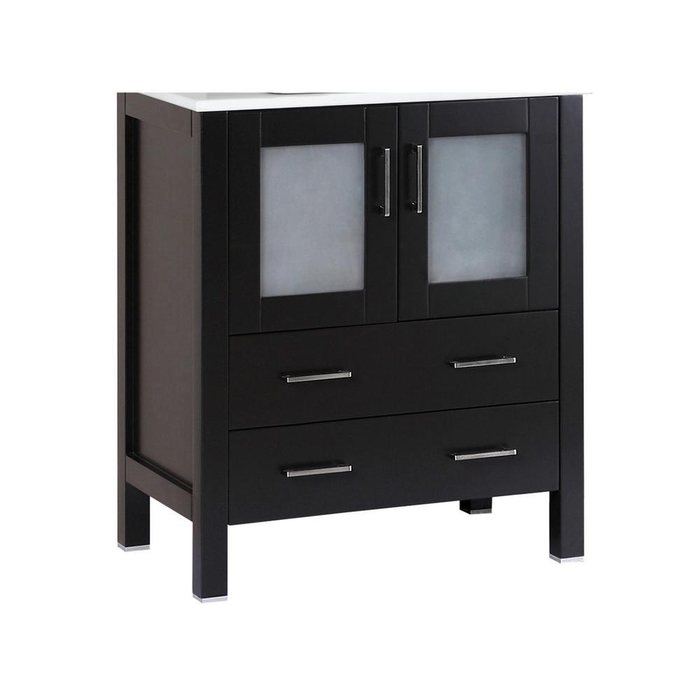 Bosconi 28.8 in. Single Vanity Cabinet Only in Black Brushed Nickel Hardware