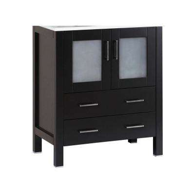 Bosconi 28.8 in. Single Vanity Cabinet Only in Black Brushed Nickel Hardware