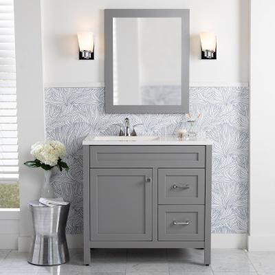 Maywell 36.5 in. W x 18.75 in. D Bath Vanity in Sterling Gray with Cultured Marble Vanity Top in White with White Sink