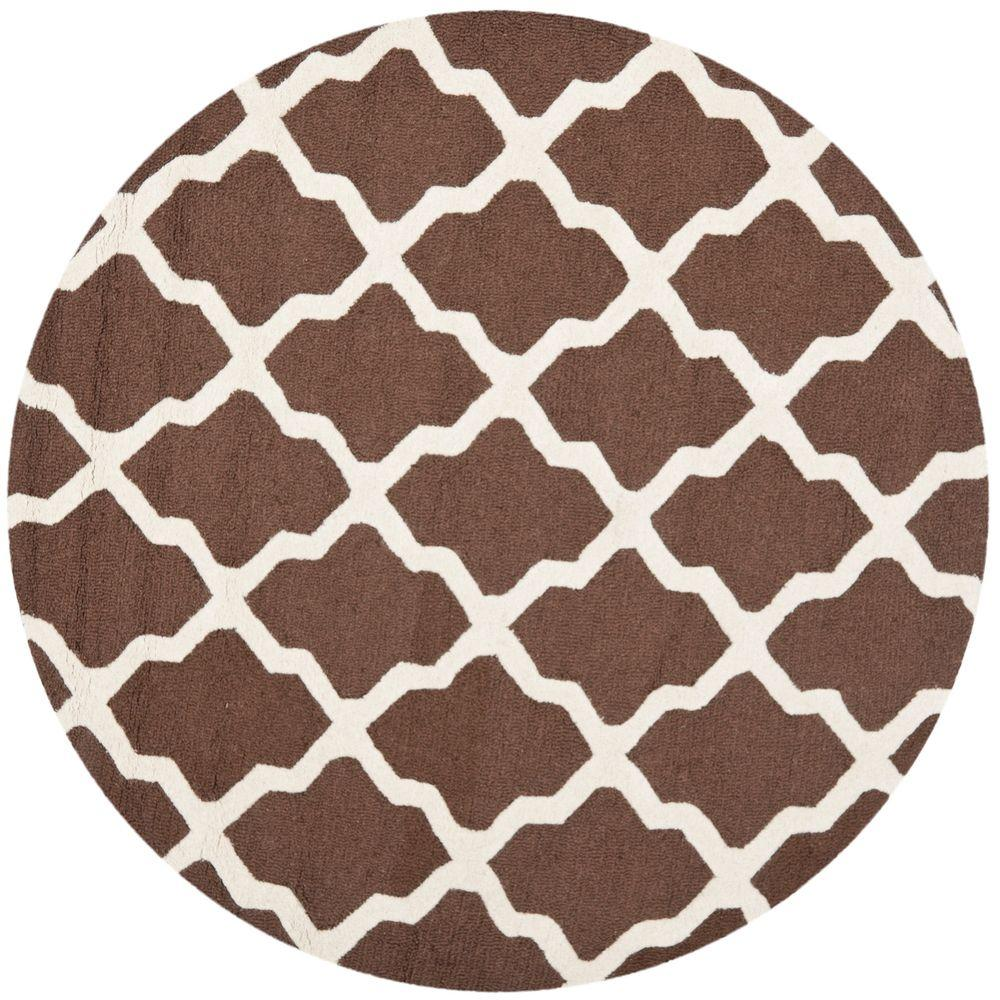 Cambridge Dark Brown/Ivory 4 ft. x 4 ft. Round Area Rug