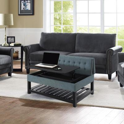 Joliet Seafoam Solid Wood Tufted Coffee Table Work Table Convertible with Storage