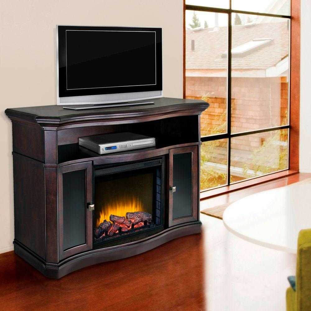 Pleasant Hearth Wheaton 54 in. Media Console Electric Fireplace in Merlot-DISCONTINUED