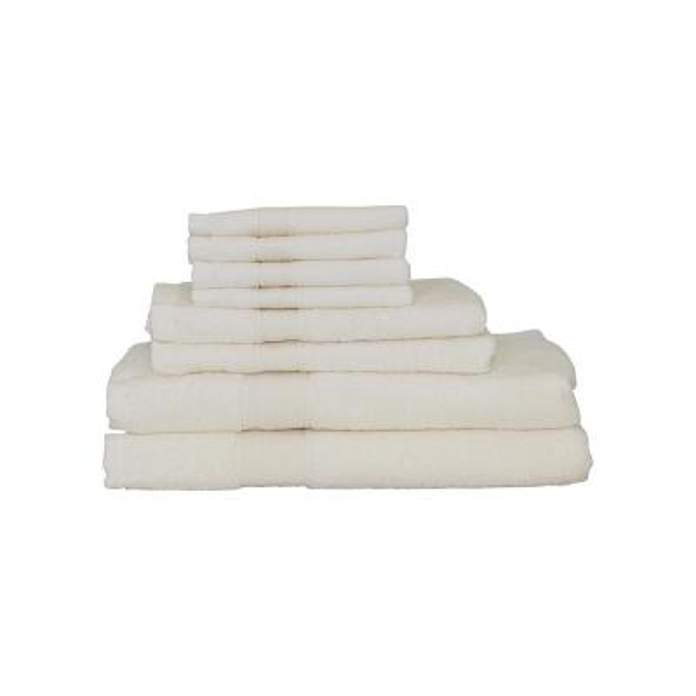 Luxury 8-Piece Cotton Towel Set in Ivory