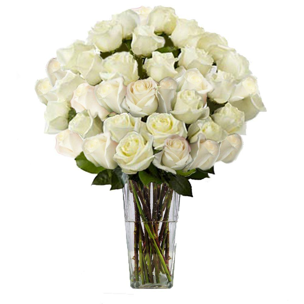 The ultimate bouquet gorgeous white rose bouquet in clear vase 36 the ultimate bouquet gorgeous white rose bouquet in clear vase 36 stem overnight shipping izmirmasajfo