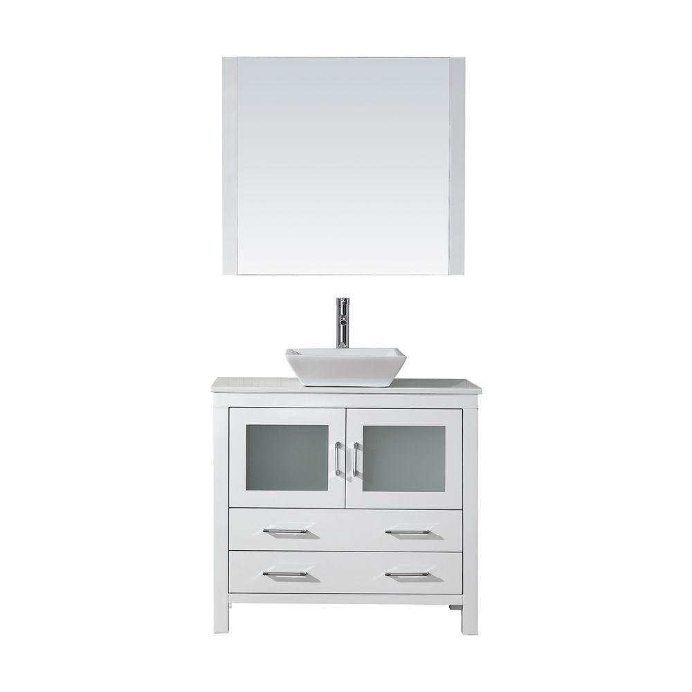 Virtu USA Dior 37 in. W Bath Vanity in White with Stone Vanity Top in White with Square Basin and Mirror and Faucet