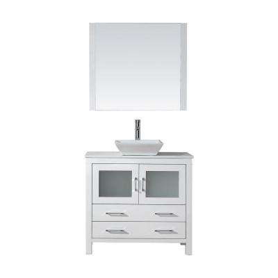 Dior 37 in. W Bath Vanity in White with Stone Vanity Top in White with Square Basin and Mirror and Faucet