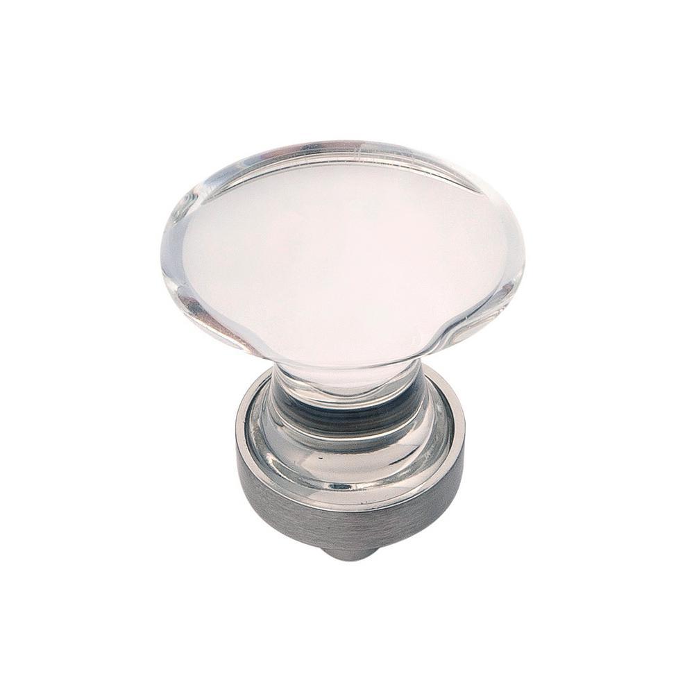 1-1/4 in. x 3/4 in. Gemstone Glass with Satin Nickel Cabinet Knob