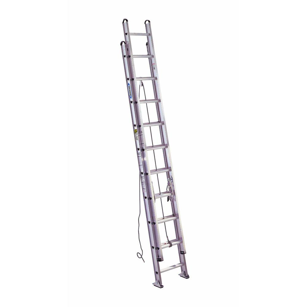 20 ft. Aluminum D-Rung Extension Ladder with 375 lb. Load Capacity