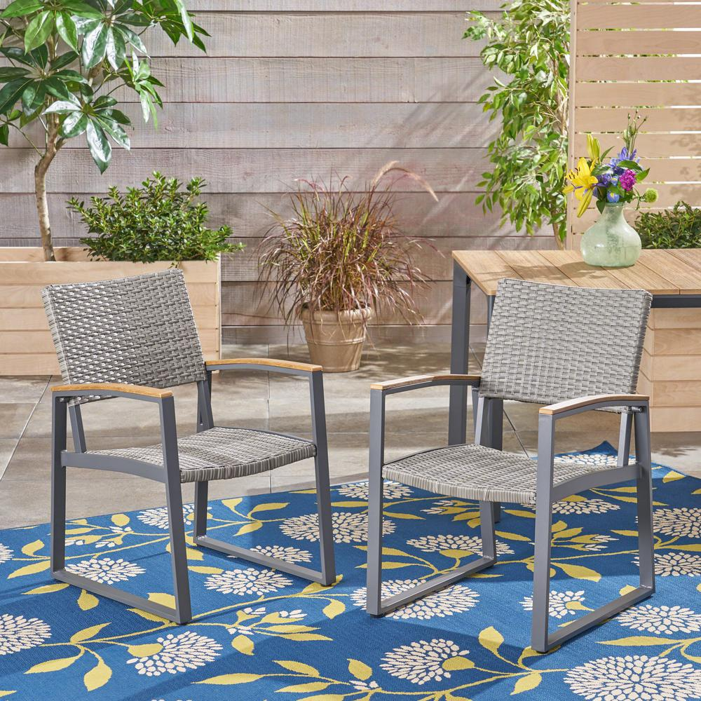 Noble House Glasgow Gray Armed Wicker And Aluminum Outdoor