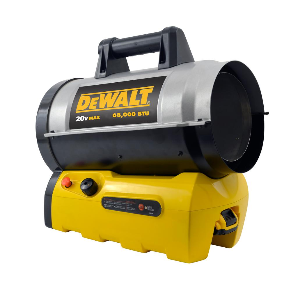 Forced Air Propane Heater >> Dewalt 27 000 68 000 Btu Cordless Forced Air Propane Portable Heater