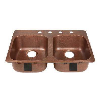 Santi Drop-In Handmade Pure Solid Copper 33 in. 4-Hole Right Side 50/50 Double Bowl Kitchen Sink in Antique Copper