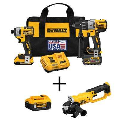 FLEXVOLT 60-Volt and 20-Volt MAX Lithium-Ion Cordless Brushless Combo Kit (2-Tool) with Bonus Grinder and Battery 5Ah