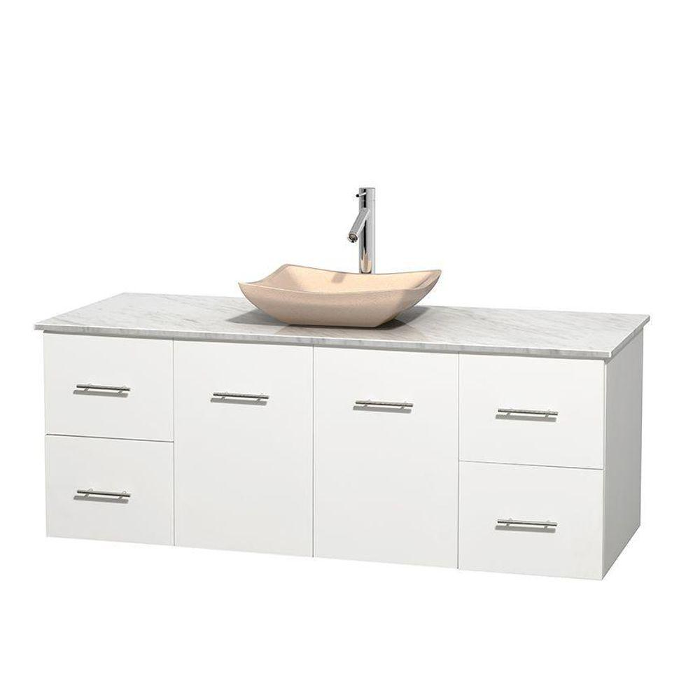 Wyndham Collection Centra 60 in. Vanity in White with Marble Vanity Top in Carrara White and Sink