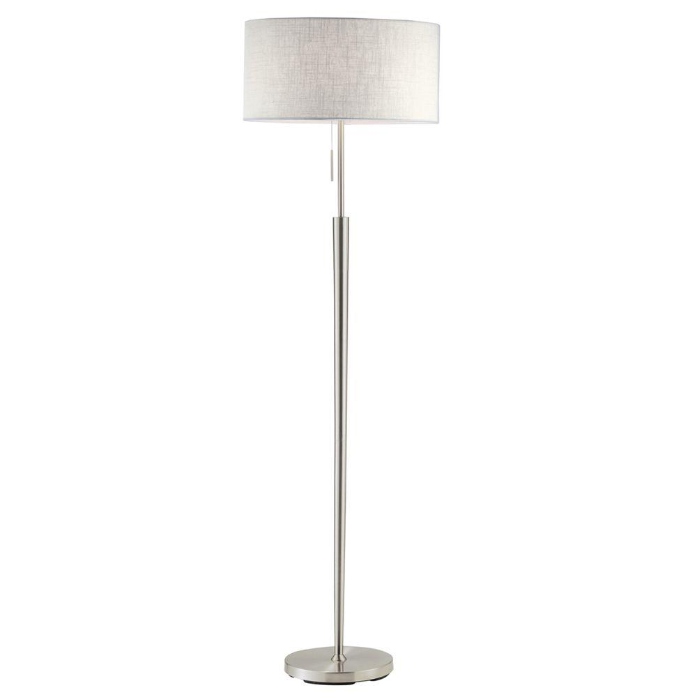 Hayworth 65 in. Satin Steel Floor Lamp