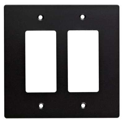 Subway Tile Decorative Double Rocker Switch Plate, Flat Black